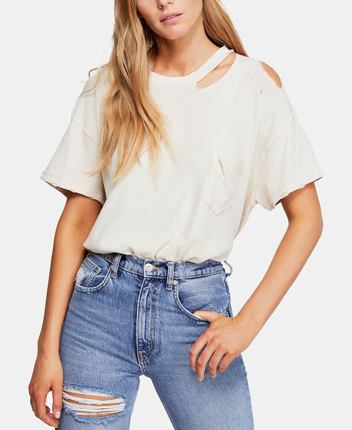 Free People - Cotton Lucky Cold-Shoulder Distressed T-Shirt