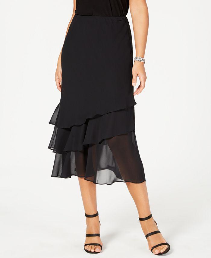 Alex Evenings - Skirt, Tiered Chiffon Midi
