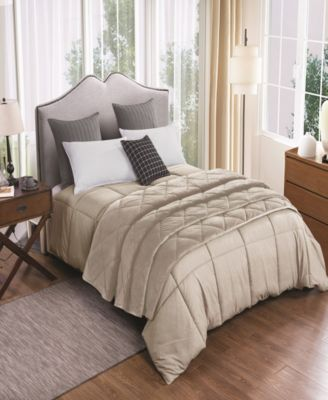 2pc Velvet Blanket and Down Alternative Comforter Set Full/Queen in Tan