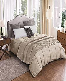 St. James Home 2pc Velvet Blanket and Down Alternative Comforter Set Full/Queen in Tan