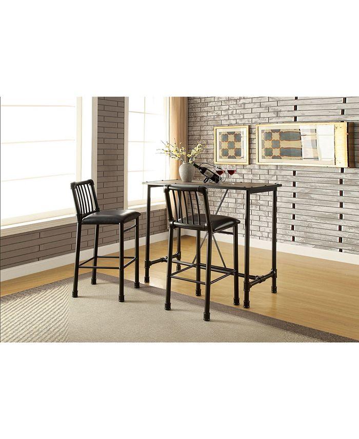 Acme Furniture - ACME Caitlin Bar Table, Rustic Oak and Black