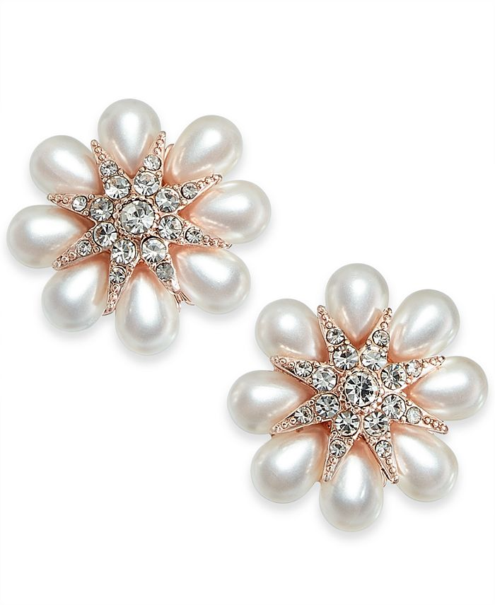 Charter Club - Gold-Tone Crystal & Imitation Pearl Flower Stud Earrings