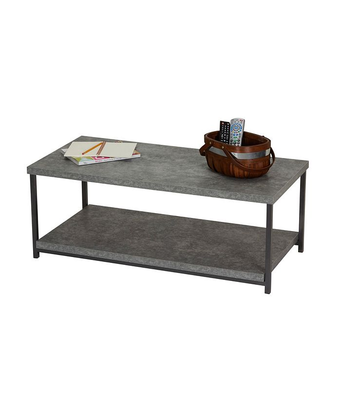 Household Essentials - Slate Faux Concrete Coffee Table with Storage Shelf