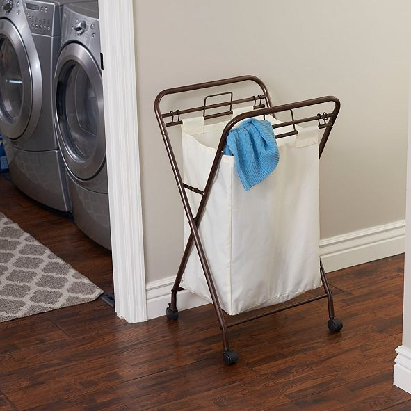Household Essentials Antique Bronze Rolling Laundry Hamper