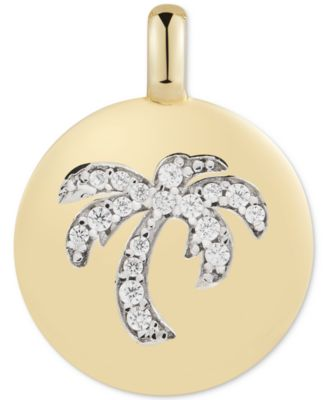 """Swarovski Zirconia Palm Tree """"Good Vibes Only"""" Reversible Charm Pendant in 14k Gold-Plated Sterling Silver"""
