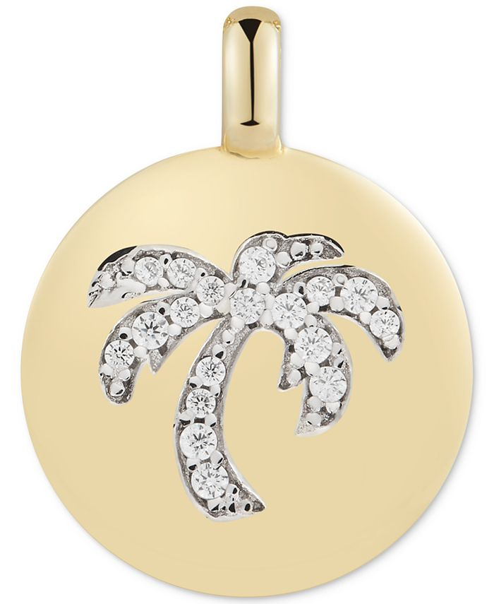 """CHARMBAR - Swarovski Zirconia Palm Tree """"Good Vibes Only"""" Reversible Charm Pendant in 14k Gold-Plated Sterling Silver"""