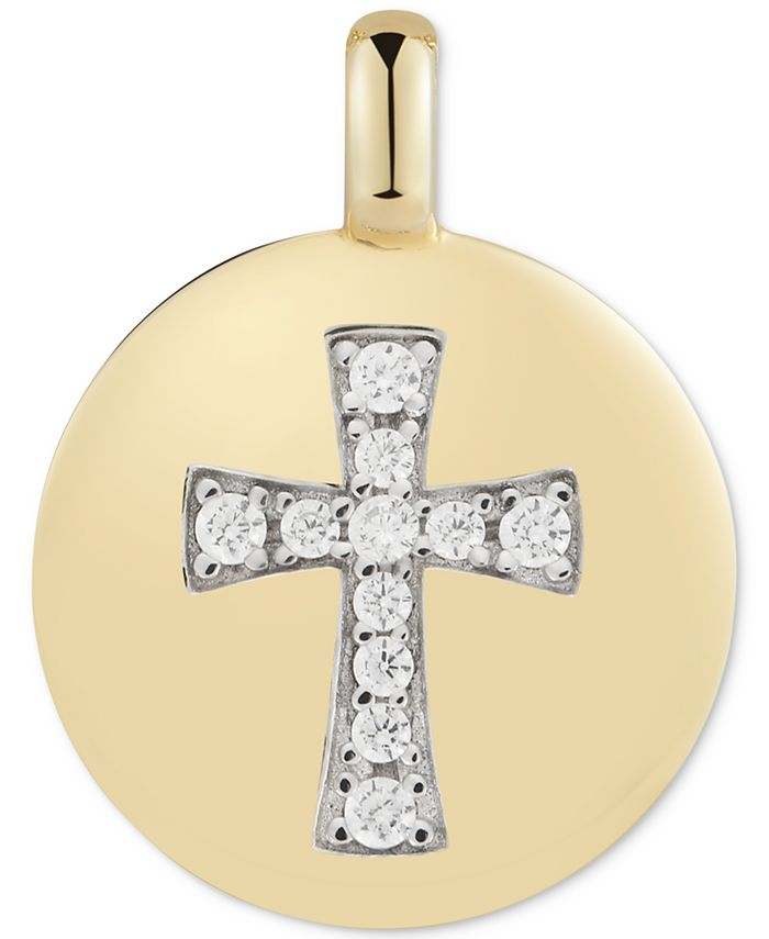 """CHARMBAR - Swarovski Zirconia Cross """"Always have Faith"""" Reversible Charm Pendant in 14k Gold-Plated Sterling Silver"""