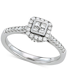 Diamond Cluster Engagement Ring (3/8 ct. t.w.) in 14k White Gold