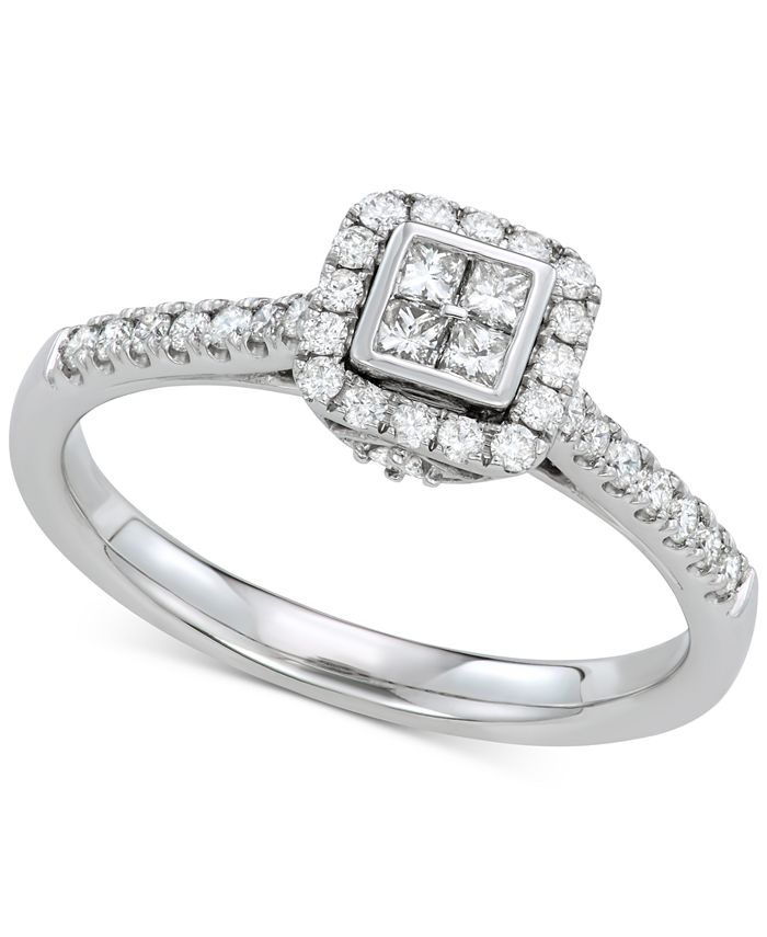 Macy's - Diamond Cluster Engagement Ring (3/8 ct. t.w.) in 14k White Gold