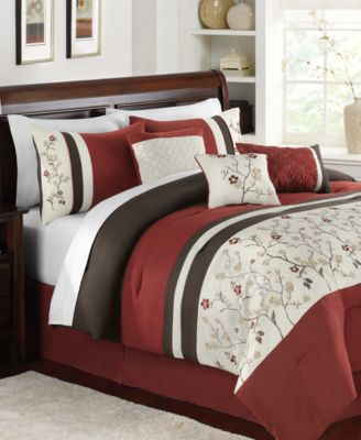 Bella Donna 7 Piece Queen Embroidered Comforter Set