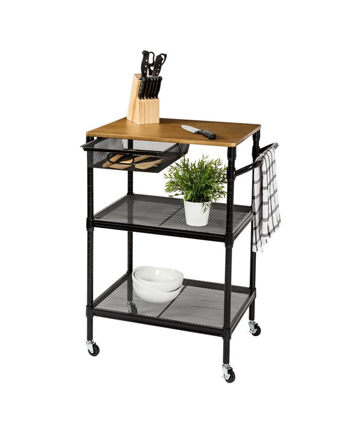 """Honey Can Do - 36"""" Kitchen Cart with Wheels, Storage Drawer and Handle"""