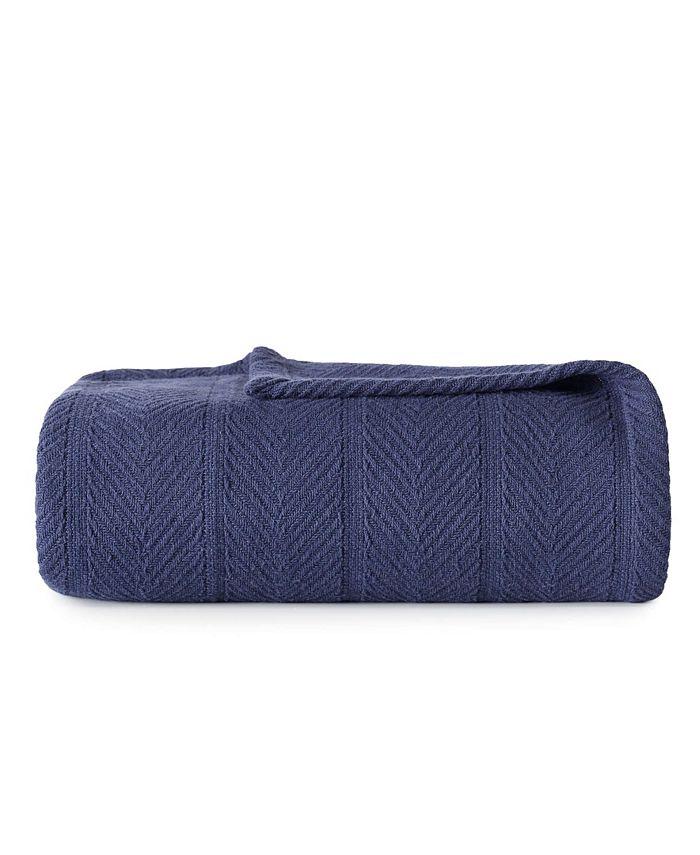 Eddie Bauer - Herringbone Cotton Navy Blanket, Twin