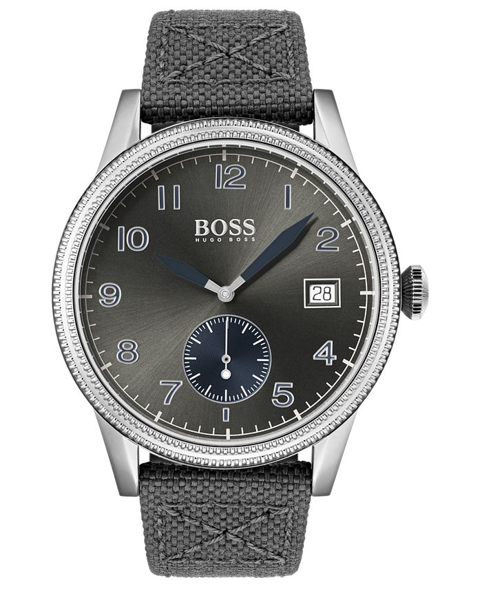 BOSS - Men's Legacy Gray Fabric Strap Watch 44mm