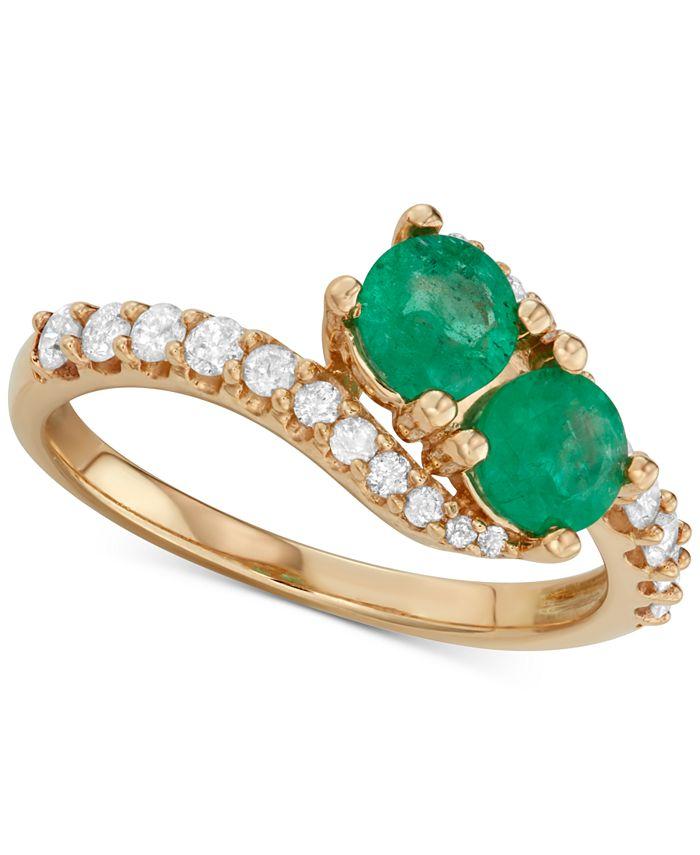 Macy's - Emerald (3/4 ct. t.w.) & Diamond (3/8 ct. t.w.) Two Stone Ring in 14k Gold