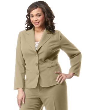 AGB Plus Size Suiting Three-Button Blazer