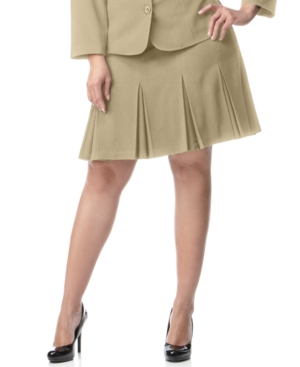 Agb Plus Size Suiting Pleated A-Line Skirt