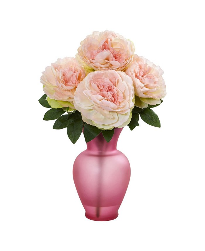 Nearly Natural - Peony Artificial Arrangement in Rose Garden Vase