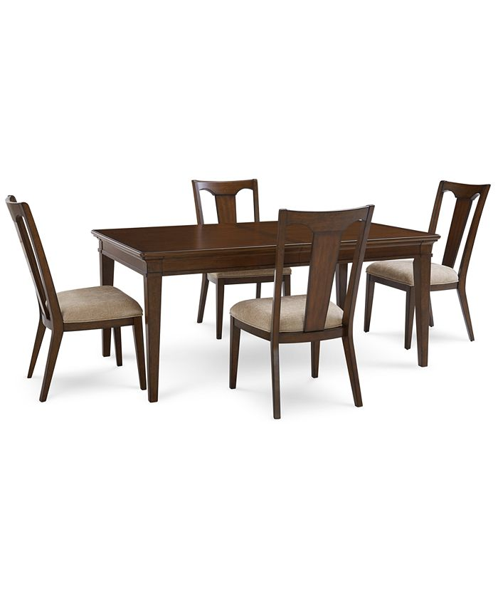 Furniture - Matteo Dining , 5-Pc. Set (Table & 4 Splat Back Upholstered Side Chairs)