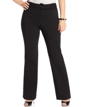 Style & co. Plus Size Pants, Belted Flare Leg Suiting
