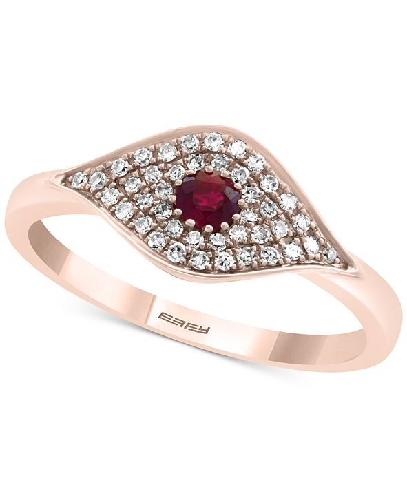 EFFY Collection EFFY® Certified Ruby (1/6 ct. t.w.) & Diamond (1/5 ct. t.w.) Evil Eye Ring in 14k Rose Gold