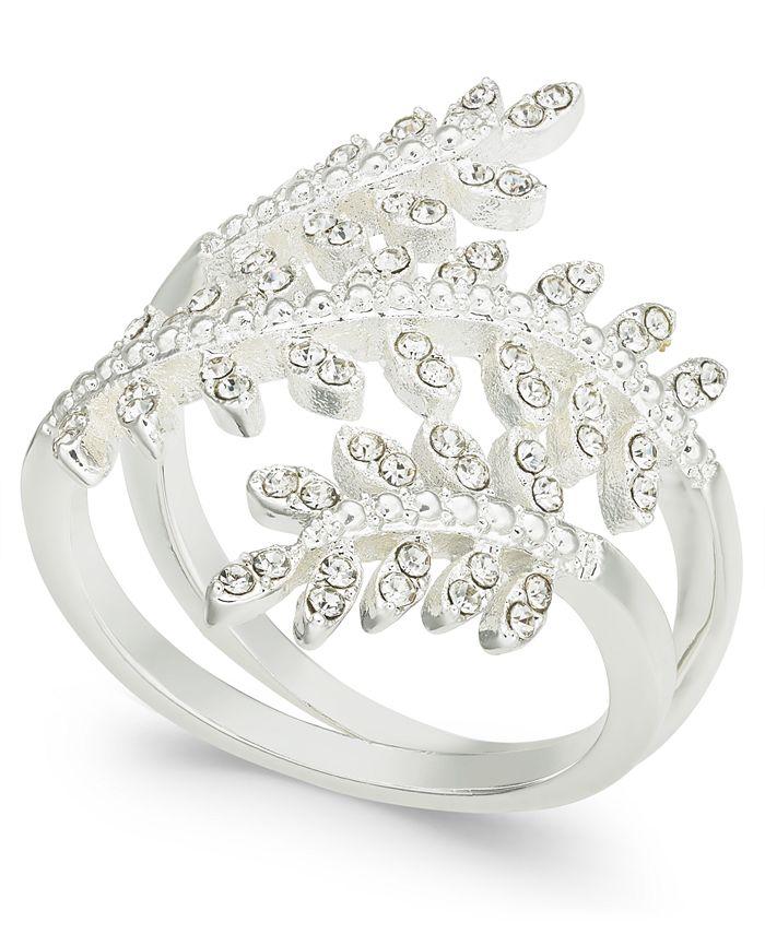 Charter Club - Fine Silver Plate Crystal Leaf Wrap Ring