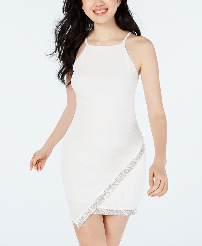 BCX - Juniors' Asymmetrical-Hem Rhinestone Dress
