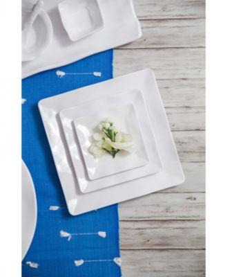 Small White Ruffle Melamine Square Platter