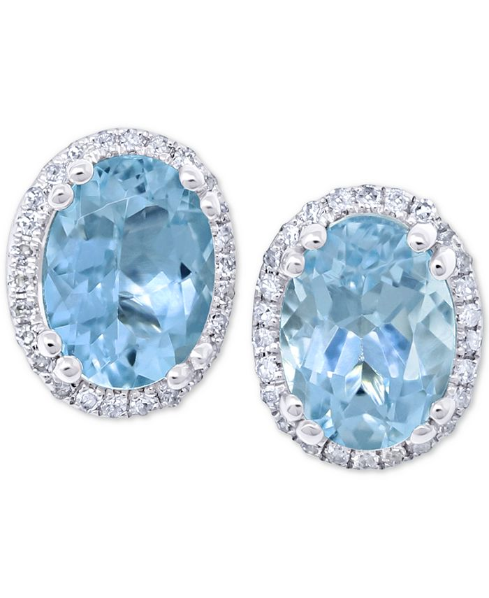 Macy's - Aquamarine (2 ct. t.w.) & Diamond (1/8 ct. t.w.) Stud Earrings in 14k White Gold