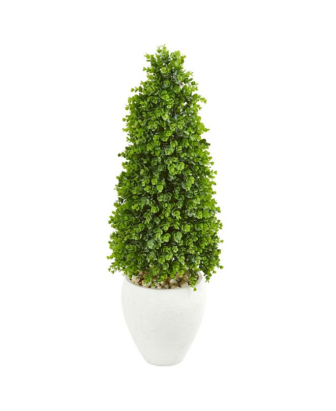 "Nearly Natural 41"" Eucalyptus Cone Topiary Artificial Tree in White Planter (Indoor/Outdoor)"
