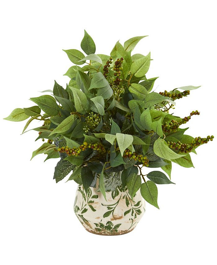 Nearly Natural - Mixed Ficus, Fittonia and Berries Artificial Plant in Floral Vase