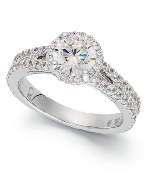 My Diamond Story 18k White Gold Ring, Halo Engagement Ring (2 ct. t.w.)