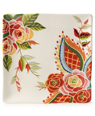 CLOSEOUT! Vida by Espana Rose Print Square Dinner Plate