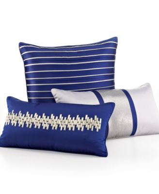 "Hotel Collection Links Cobalt 12"" x 22"" Decorative Pillow"