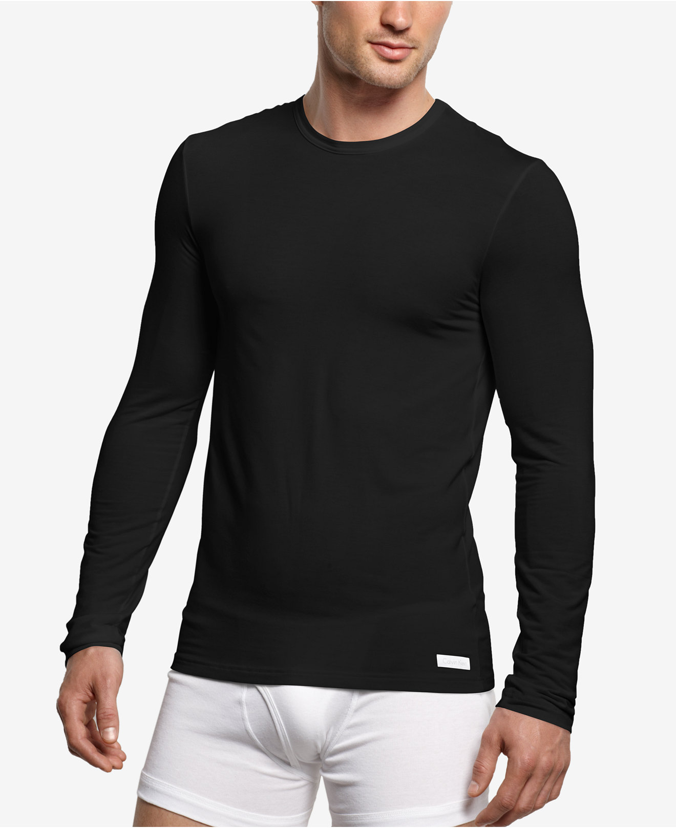 calvin klein micro modal long sleeve crew t shirt u1139. Black Bedroom Furniture Sets. Home Design Ideas