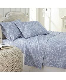 Southshore Fine Linens Ultra-Soft Floral or Solid 4-Piece Sheet Set