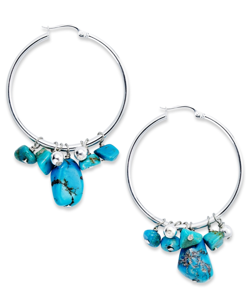 Avalonia Road Stabilized Turquoise Hoop Earrings (2 1/5 ct. t.w.) in Sterling Silver   Earrings   Jewelry & Watches