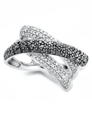 Sterling Silver Ring, Black and White Diamond (1/2 ct. t.w.) Pave Cross Ring