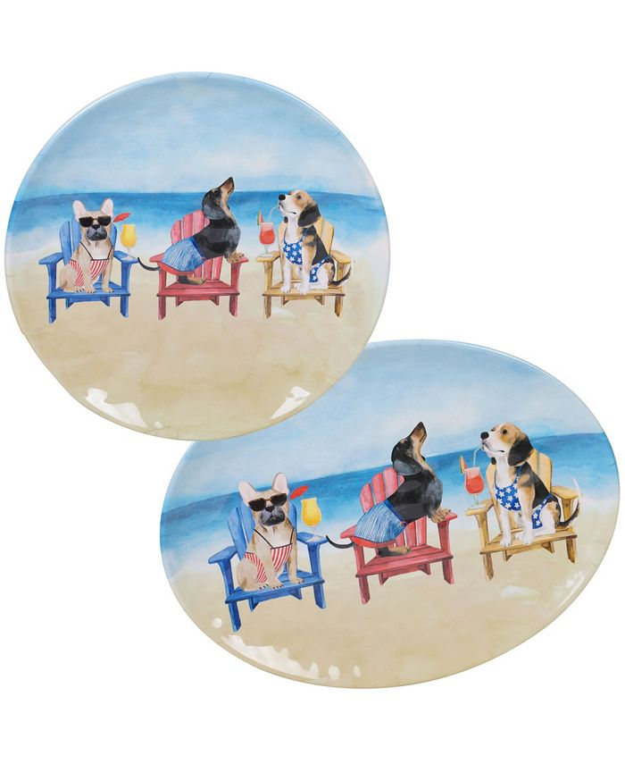 Certified International - Hot Dogs 2-Pc. Platter Set - Round and Oval