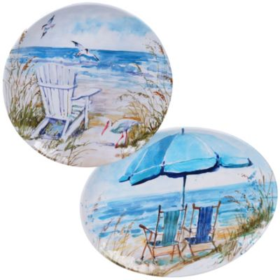 Ocean View Melamine 2-Pc. Platter Set - Round and Oval