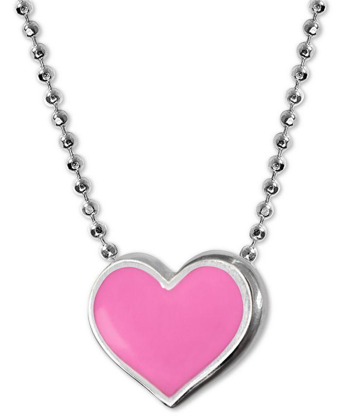 """Alex Woo - Enamel Heart 16"""" Pendant Necklace in Sterling Silver"""