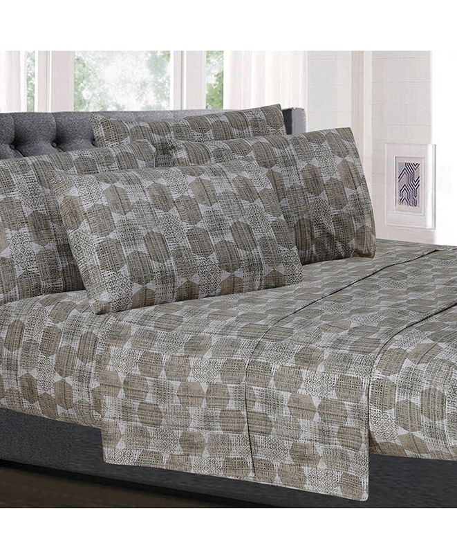 Sweet Home Collection Printed King 6-Pc Sheet Set