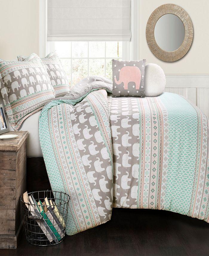 Lush Décor - Elephant Stripe Comforter Turquoise/Pink 4Pc Set Twin