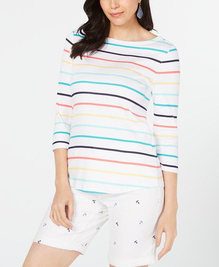 Charter Club - Cotton Striped Boat-Neck Top