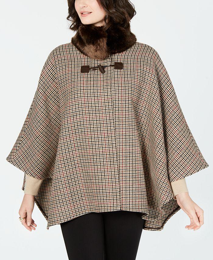 Jones New York - Faux-Fur-Collar Cape Coat