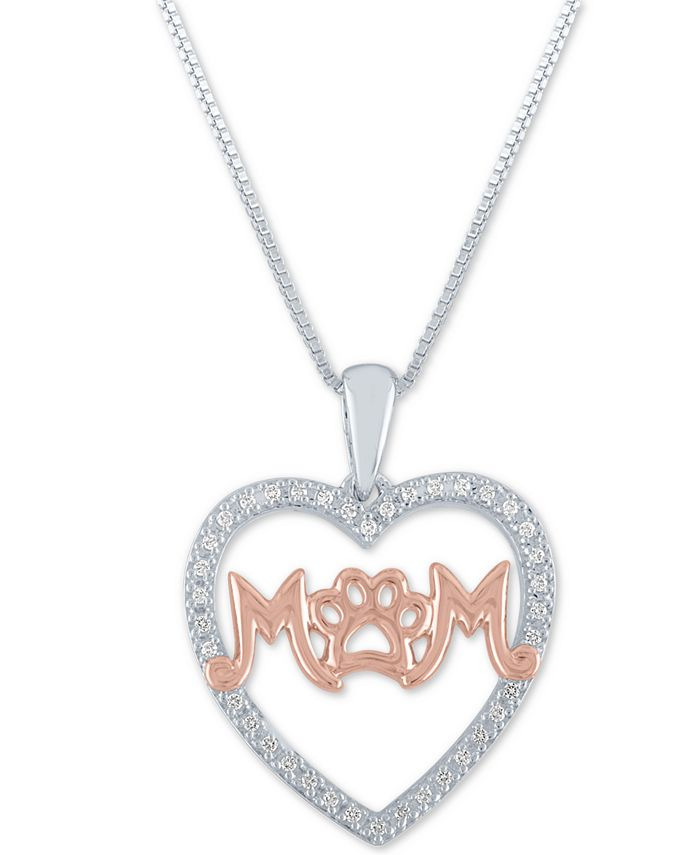 """Macy's - Diamond Mom Paw-Print 18"""" Pendant Necklace (1/10 ct. t.w.) in Sterling Silver and 14k Rose Gold Over Sterling Silver"""