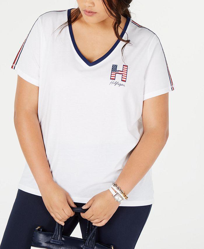 Tommy Hilfiger - Plus Size Striped V-Neck Graphic T-Shirt
