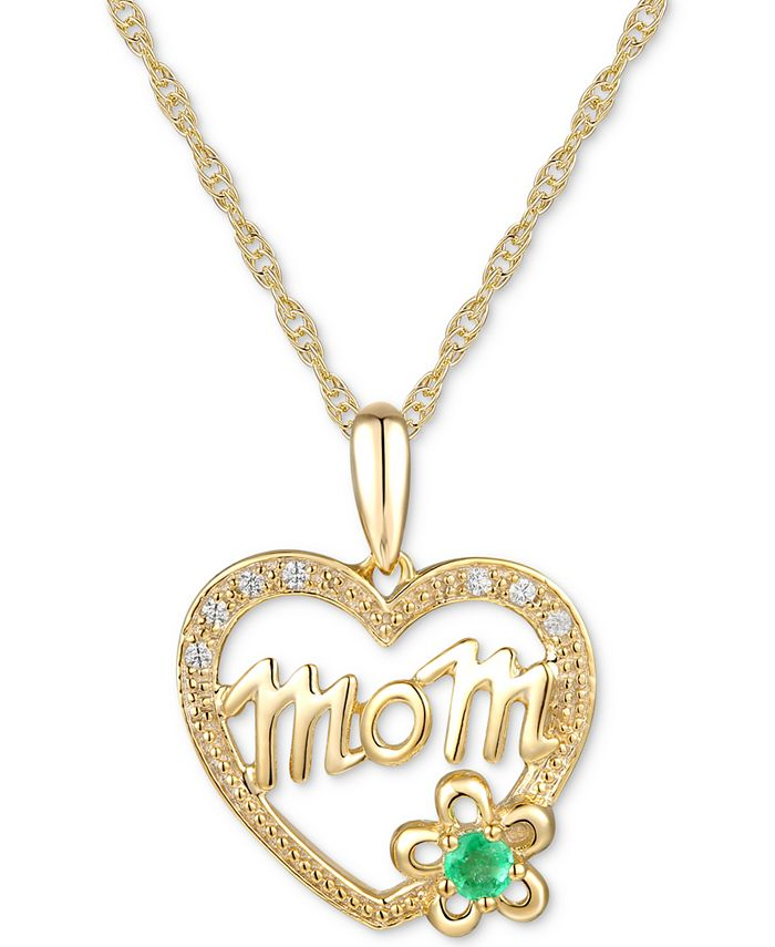 "Macy's - Emerald Accent & Diamond Accent Mom 18"" Pendant Necklace in 14k Gold"