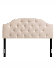 CorLiving Calera Diamond Button Tufted Fabric Arched Panel Headboard, Double/Full