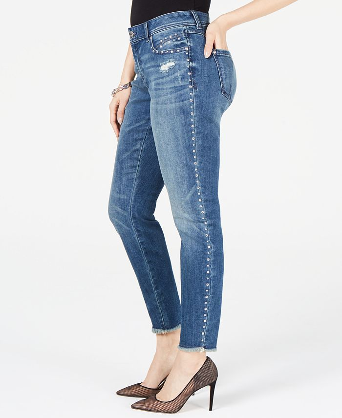 INC International Concepts - Studded Frayed-Hem Skinny Jeans