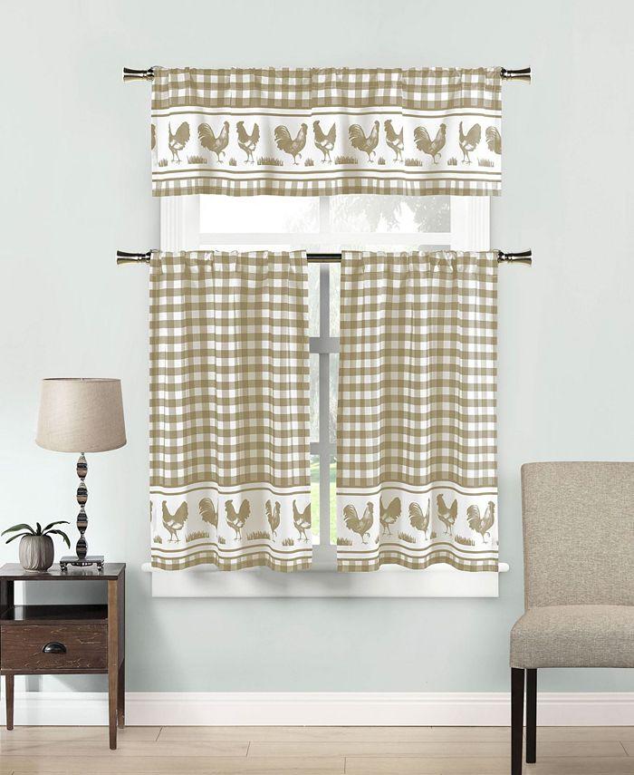 "Duck River Textile - Hellen 58"" x 15"" 3-Piece Kitchen Curtain Set"